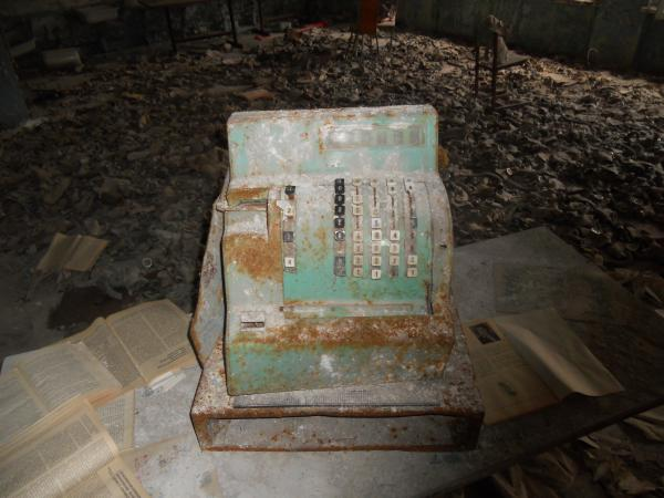 Cash register in the school, near the gas masks