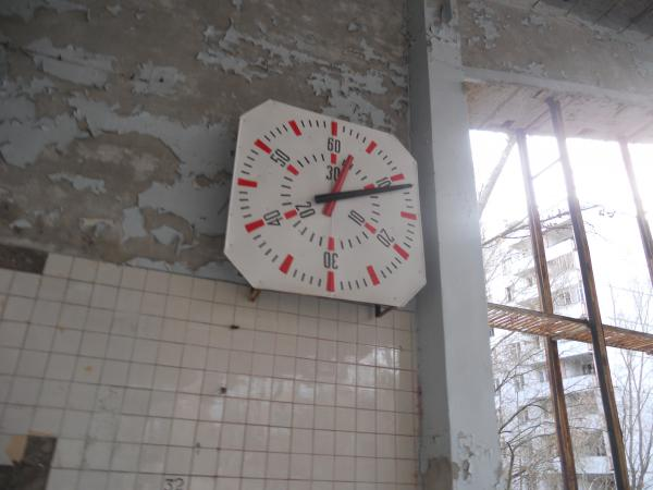 Chernobyl Abandoned Swimming Pool - Clock (which obviously was not working)