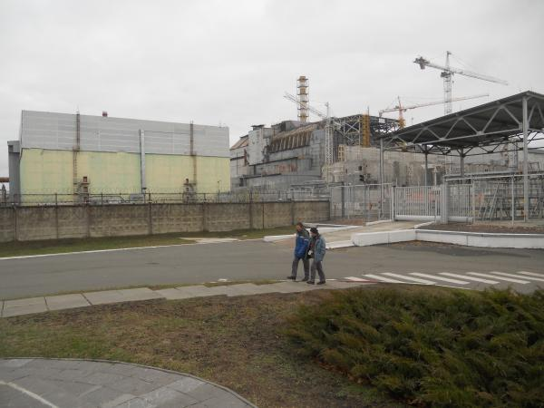 Chernobyl Power Plant Workers Walking Around