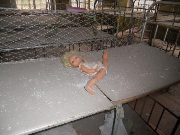 Dolls in the abandoned nursery at Chernobyl