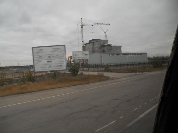 Driving past the Chernobyl power station