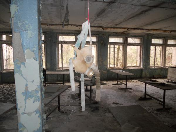 Gas Mask hanging in the Chernobyl Abandoned School