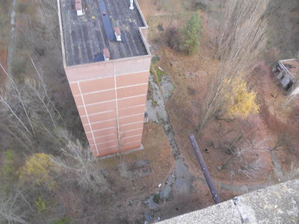 Looking down from the rooftop on the Chernobyl tour