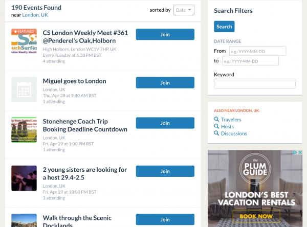 Couchsurfing's London Event Page