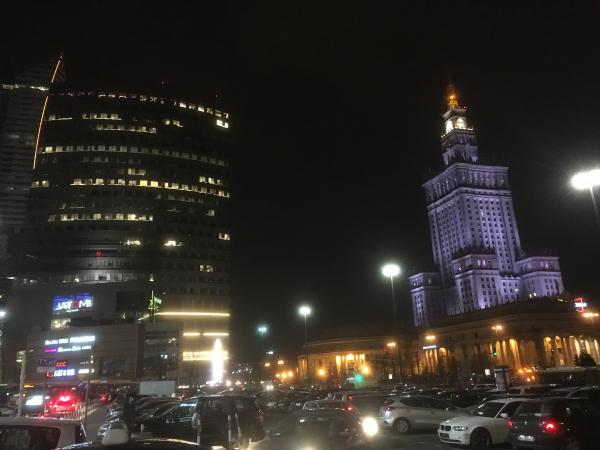 Arriving near the train station and Palace of Culture and Science
